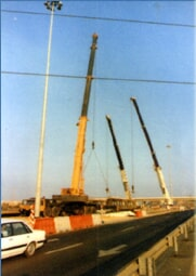 Lifting a Bailey bridge, raising antennas in Safed, raising a chimney at the refinery in Haifa